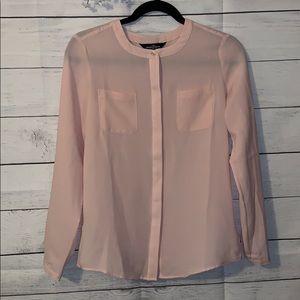 Lands End size 2 petite long sleeve pink blouse